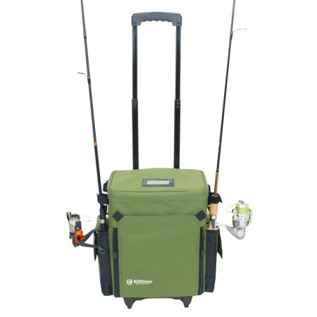 Elkton Outdoors Rolling Tackle Box Green L 15 7 X W 9 6 H 18 5 Inches