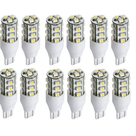 TCBunny LED Replacement Light Bulb 921/T15 Wedge Base 52 Lumens 12v or 24v Natural White (12 Pcs)