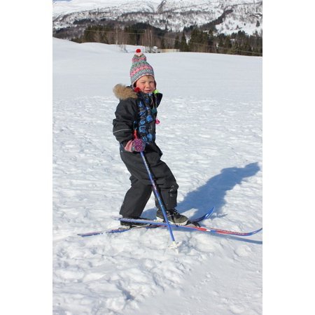 Canvas Print Cross Country Skiing Snow Ski Winter Children Stretched Canvas 10 x 14 ()