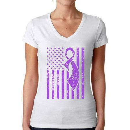Purple For Cancer (Awkward Styles Women's Cancer Awareness V-neck T-shirt Purple)