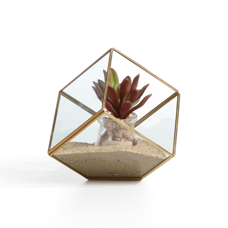 "Danya B. 9.5"" Cube Brass and Glass Terrarium"
