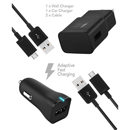 Samsung Galaxy S7 Active Charger Micro USB 2.0 Cable Kit by TruWire - {Wall Charger + Car Charger + 2 Cable} True Digital Adaptive Fast Charging uses dual voltages for up to 50% faster charging!
