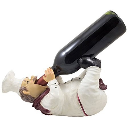 Drinking French Chef Pierre Wine Bottle Holder Statue in Decorative Bar or Tabletop Wine Racks & Country Cottage Decor Display Stands As Gifts for Wine Lovers and Kitchen Gourmet Chefs