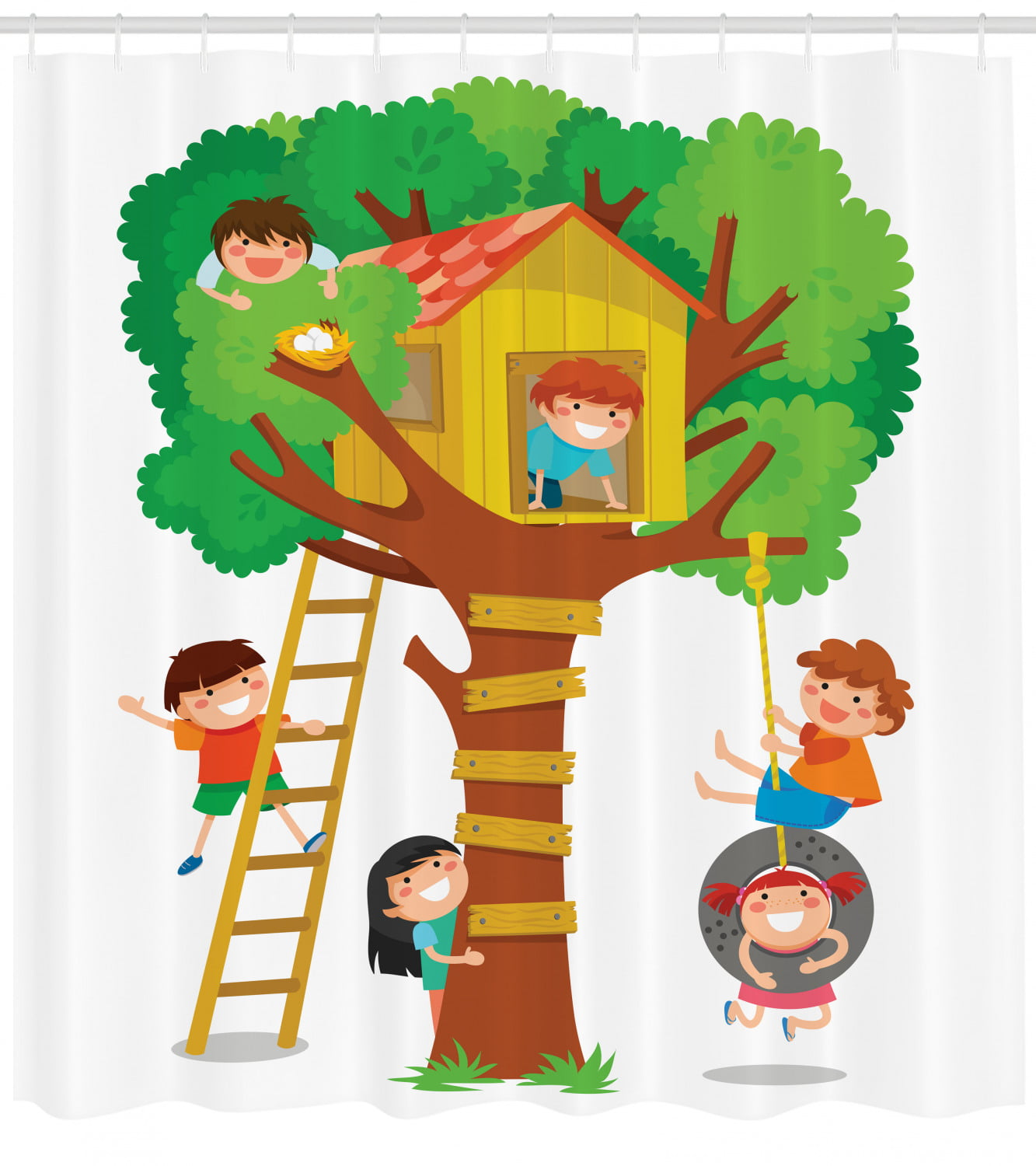 Kids Shower Curtain Cheerful Little Boys And Girl Playing In A Tree House Happy Childhood Friends Cartoon Fabric Bathroom Set With Hooks 69w X 84l Inches Extra Long Multicolor By Ambesonne Home our channels little treehouse nursery rhymes and kids songs. kids shower curtain cheerful little boys and girl playing in a tree house happy childhood friends cartoon fabric bathroom set with hooks 69w x 84l