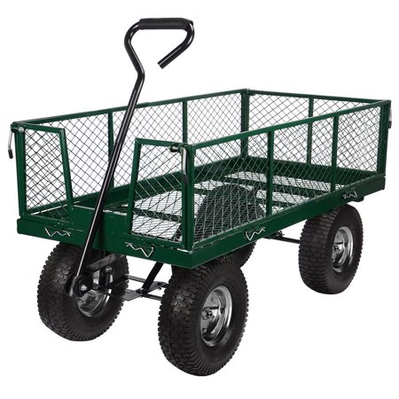 Heavy Duty Garden Dump Cart Dumper Wagon Carrier with Removable Sides and 13 inch Tires and 440-Pound Capacity - image 6 of 6
