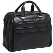McKlein SPRINGFIELD, Fly-Through Checkpoint-Friendly Laptop Briefcase, Top Grain Cowhide Leather, Black (86595)