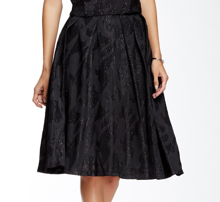 ASTR NEW Black Women's Size Small S Midi Textured Sparkle Pleated Skirt