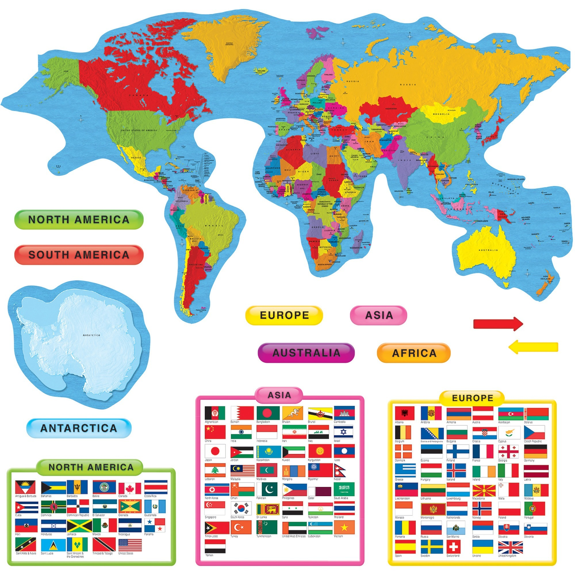 Trend, TEP8259, Continents & Countries Bulletin Board Set, 27 / Set, Multicolor
