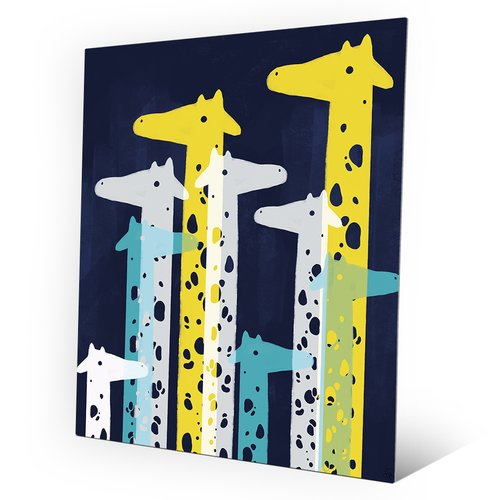 Click Wall Art Giraffe Social Main Graphic Art on Plaque