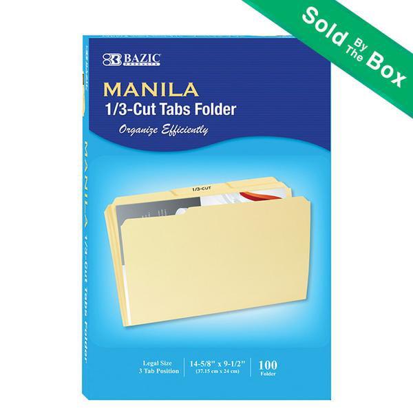 BAZIC 1/3 Cut Legal Size Manila File Folder (100/Box)