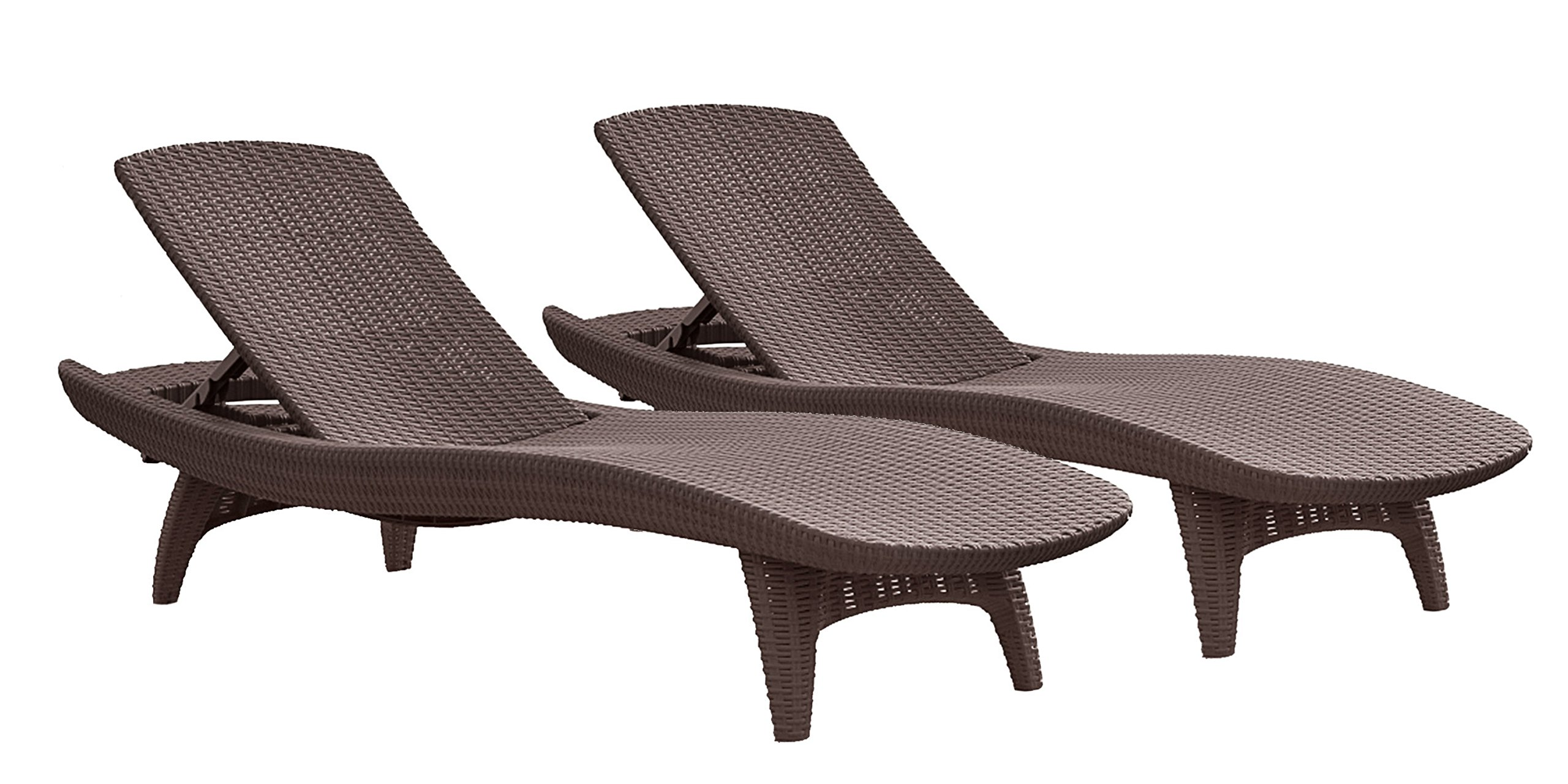 Keter Pacific 2-Pack All-weather Adjustable Outdoor Patio Chaise Lounge Furniture, Brown by Keter