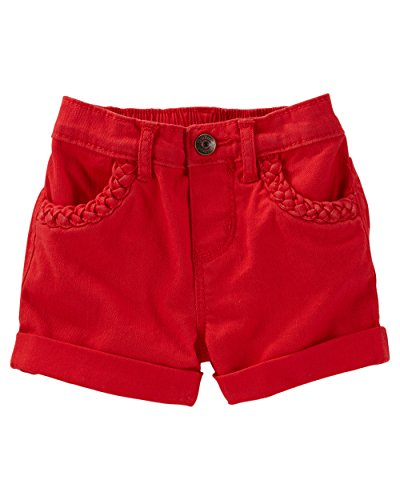 OshKosh B'gosh Baby Girls' Roll-Cuff Twill Shorts - Red Sunset, 6 Months