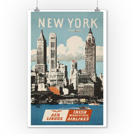Aer Lingus   New York Vintage Poster  Artist  Treidler  Ireland  9X12 Art Print  Wall Decor Travel Poster