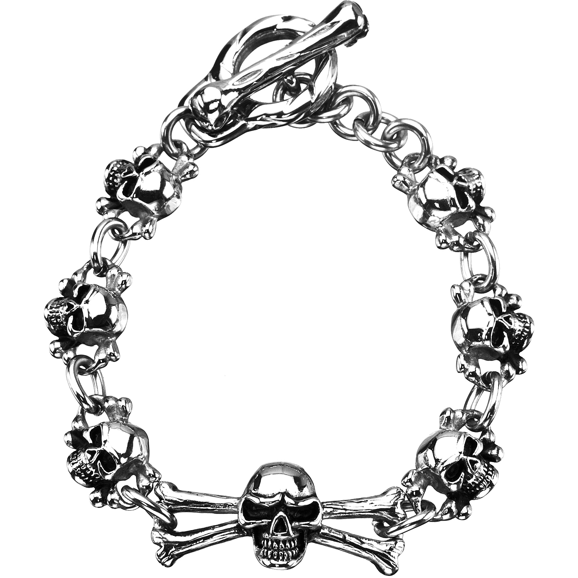 Steel Art Stainless Steel Skull Bracelet, 7.5