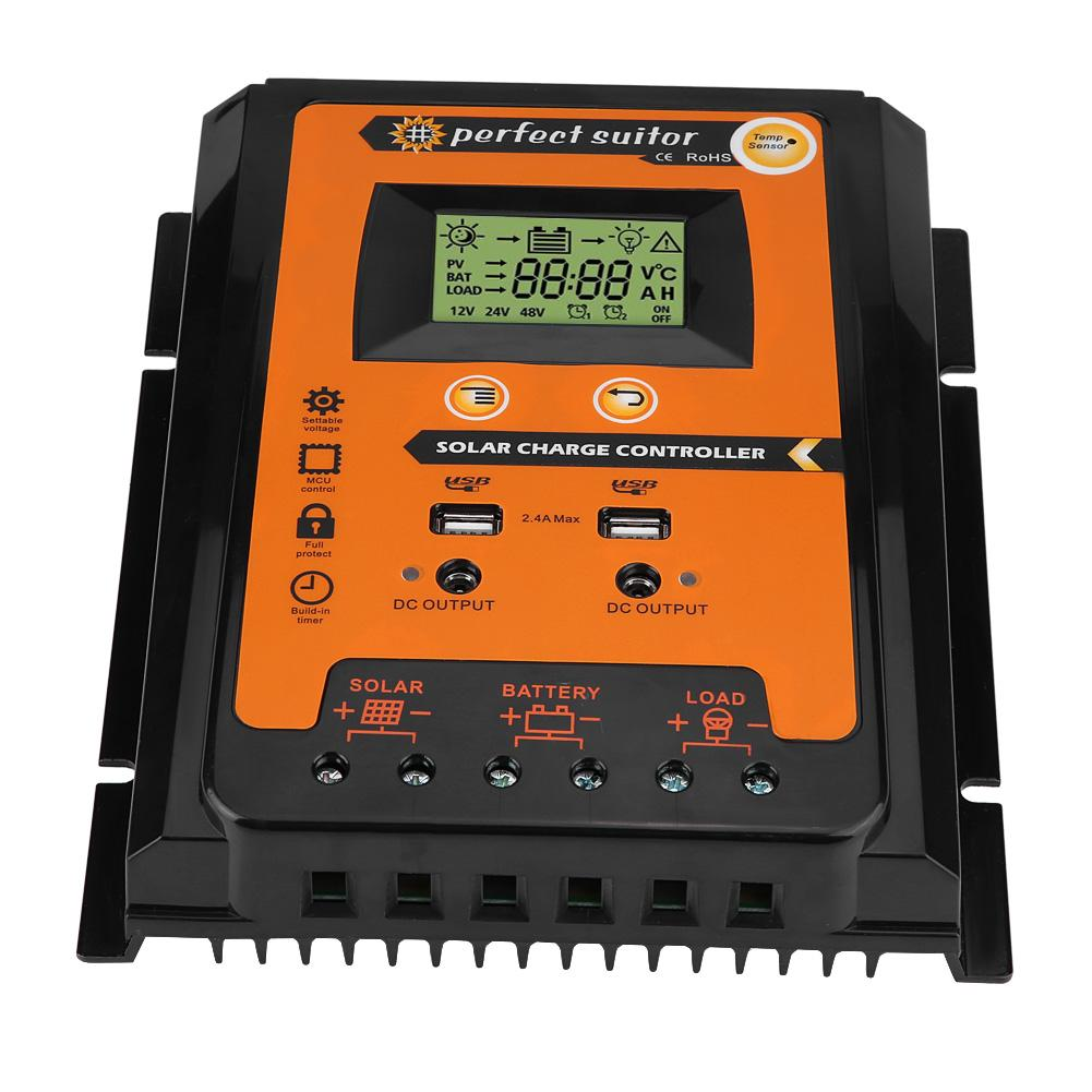 Solar Charge Controller,12V//24V 30A50A MPPT Solar Charge Controller Solar Panel Battery Regulator Dual USB LCD Display 30A