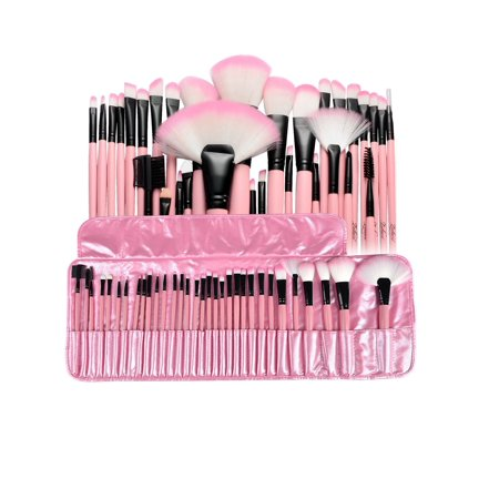 Chic Lip Brush (Zodaca 32 pcs Makeup Brushes Superior Kit Set Powder Foundation Eye shadow Eyeliner Lip with Pink Cosmetic Pouch Bag (32)
