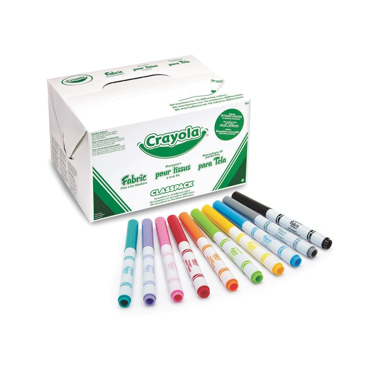 Crayola Bulk Pack 80-Count Fabric Markers Classpack, 10 Colors