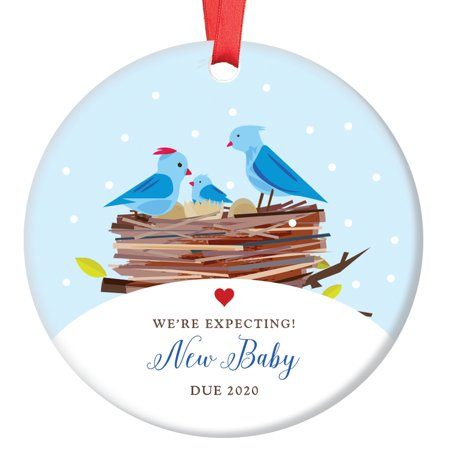 Expecting Parents Ornament, 2019 Pregnancy Announcement Porcelain Ornament, Baby Bird New Baby Gift, 3