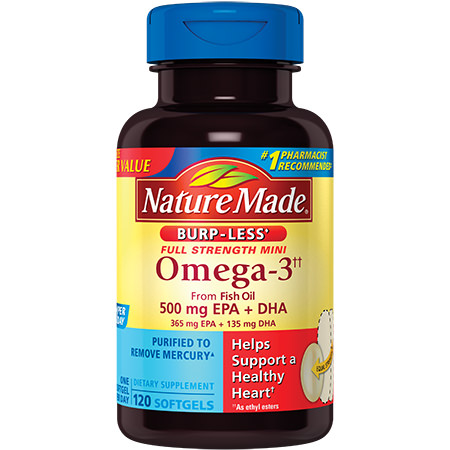 Nature Made Omega-3 from Fish Oil Burp-Less Mini Softgels, 500 Mg EPA+DHA, 120 Ct