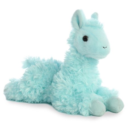 Llama Mini Flopsie Teal 8 inch - Stuffed Animal by Aurora Plush (31757) - Llama Stuffed Animal