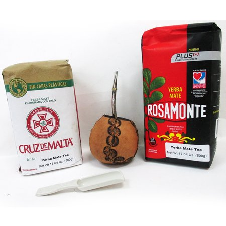 Neck Cup Kit - Argentina Mate Gourd Cup Straw Bombilla Yerba Rosamonte Cruz DeMalta Tea Bag Kit