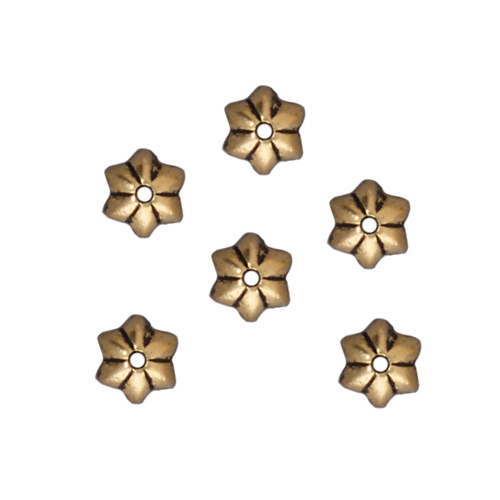 "Antiqued Gold Plated Pewter ""Talavera"" Star Bead Caps 5mm (x 6)"