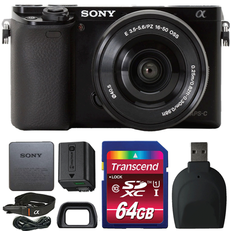 Sony Alpha A6000 Wi-Fi Mirrorless 24.3MP Digital Camera Black with 16-50mm Lens and Accessories