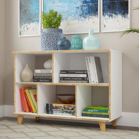 Minetta 5-Shelf Mid-Century Low Bookcase in White ()