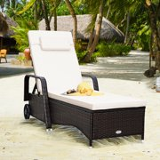 Gymax Cushioned Outdoor Wicker Chaise Lounge Chair w/ Wheel Adjustable Backrest