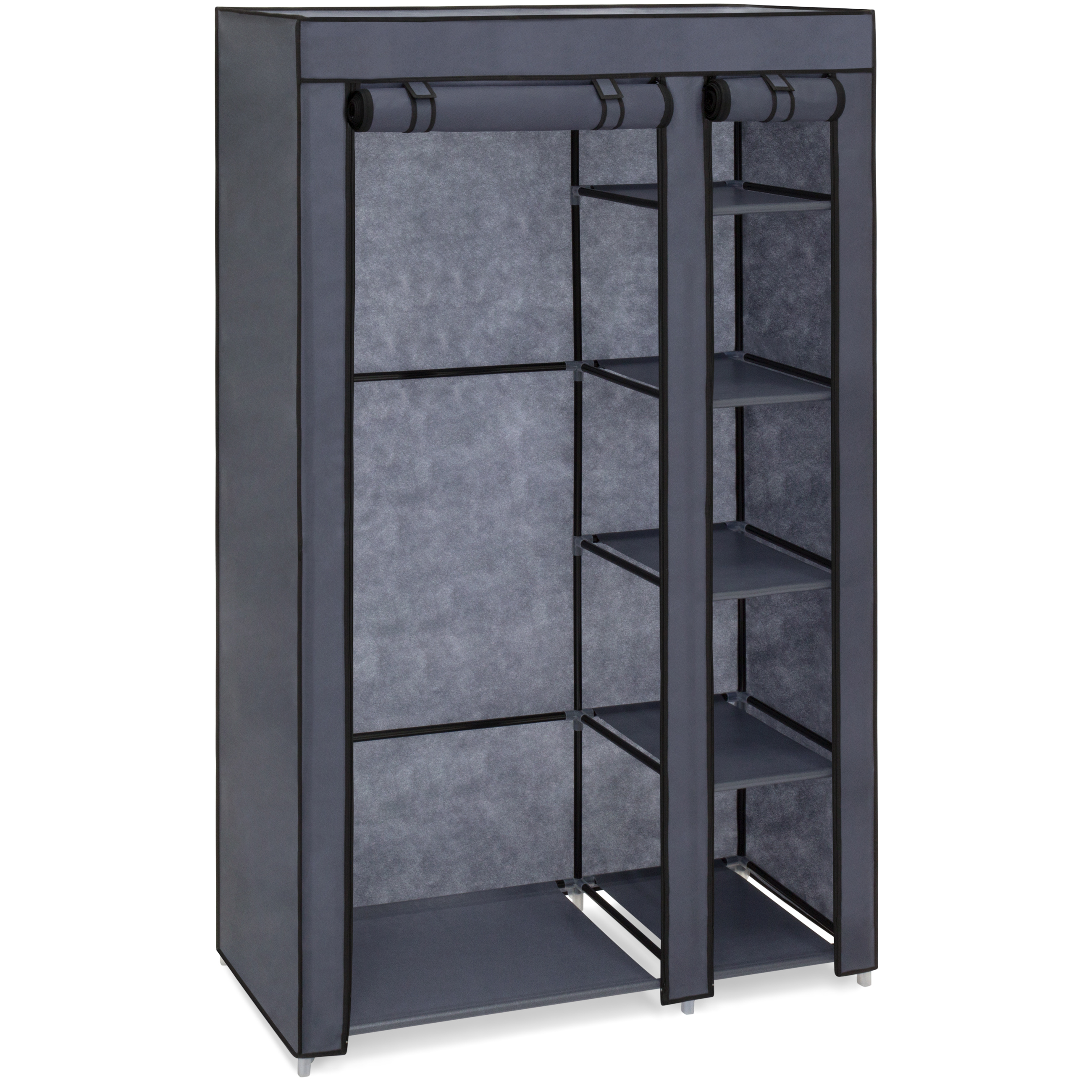 Best Choice Products 6-Shelf Portable Fabric Closet Wardrobe Storage Organizer w/ Cover and Adjustable Rod - Gray