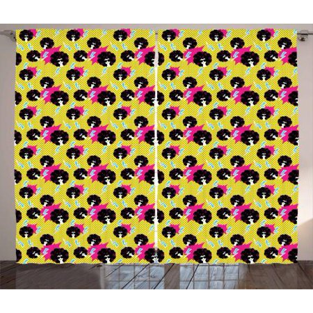 Disco Party Curtains 2 Panels Set, Retro 80s Theme Girls with Black Curly Afro Hair and Polka Dots Funky Pop Art, Window Drapes for Living Room Bedroom, 108W X 96L Inches, Multicolor, by Ambesonne