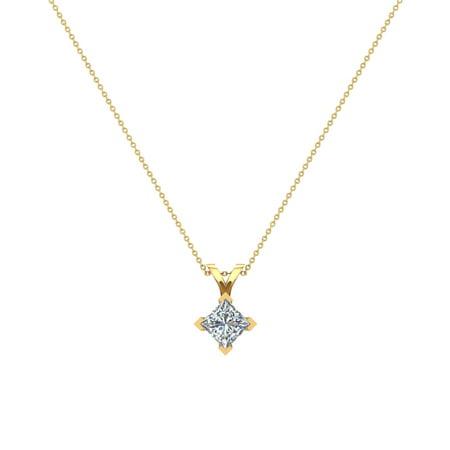 - 3/8 ct tw VS2 G Natural Princess Cut Diamond Solitaire Pendant Necklace 14K Yellow Gold