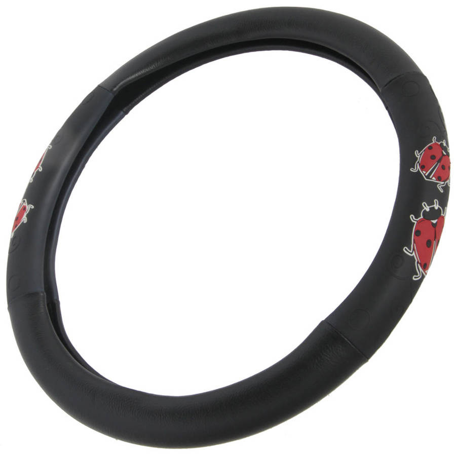 BDK Lady Bug Design Car Steering Wheel Cover, Standard Size 14.5 to 15.5""