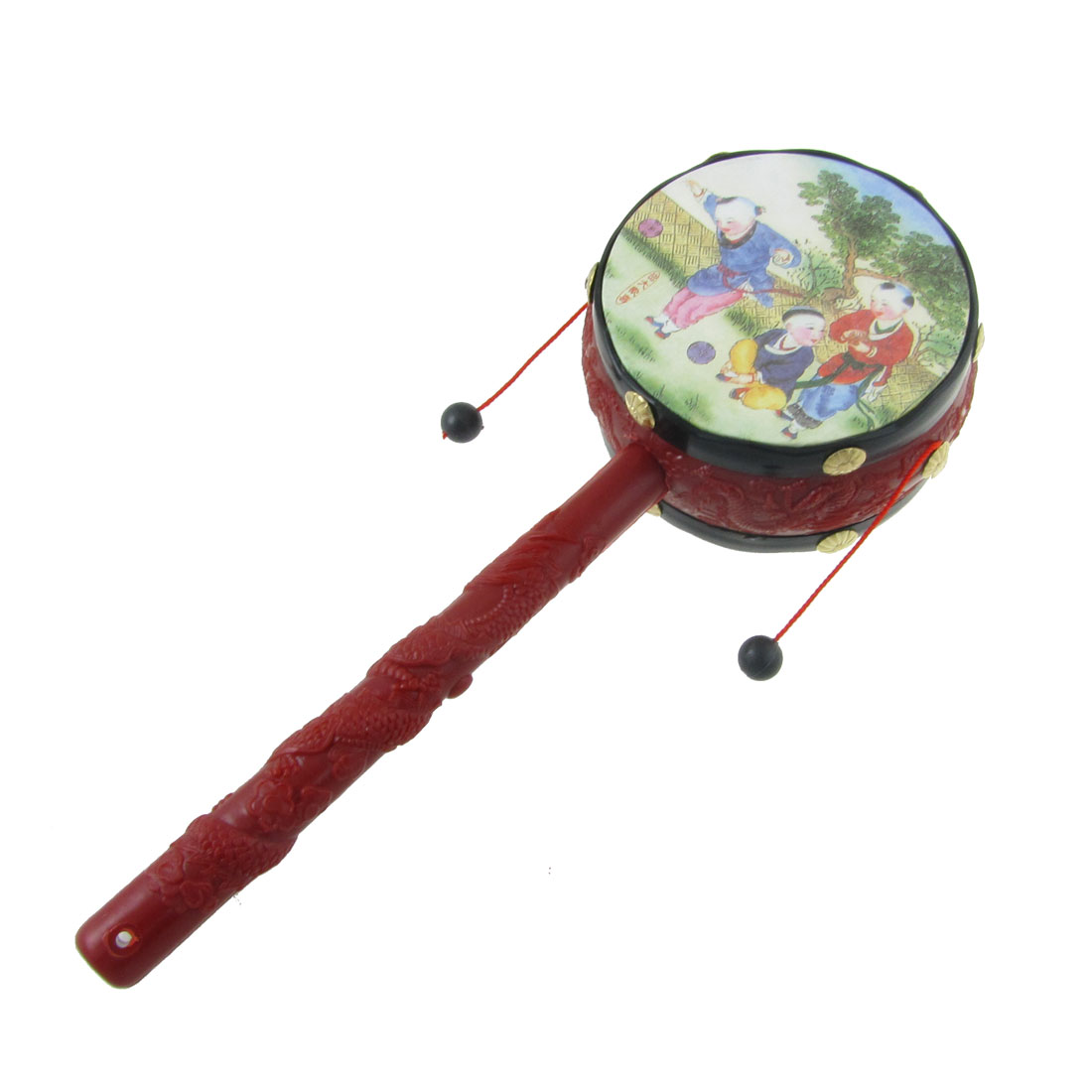 Traditional  Printed Dual Side Rattle Drum Music Handshake Toy