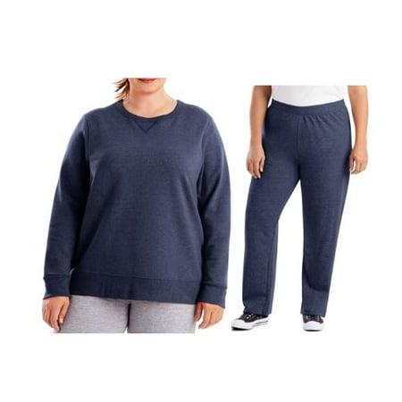 Just My Size Women's Plus Size Fleece Sweatshirt / Sweatpant Value Pack Womens Plus Performance Fleece