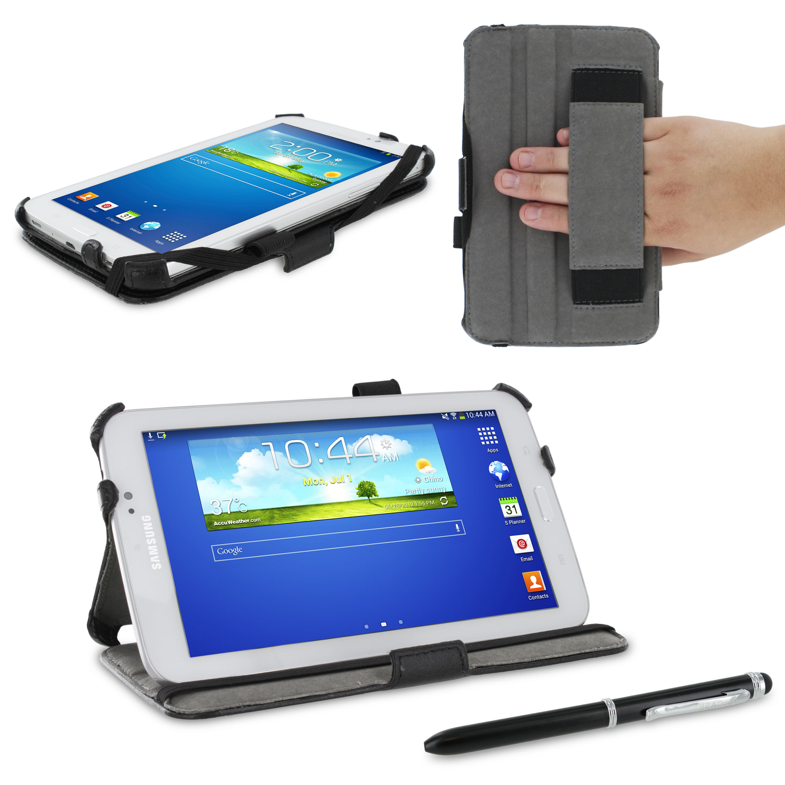 rooCASE Samsung GALAXY Tab 3 7.0 SM-T210R P3200 Slim-Fit Multi Angle Case Cover - Black (with Pen Stylus)