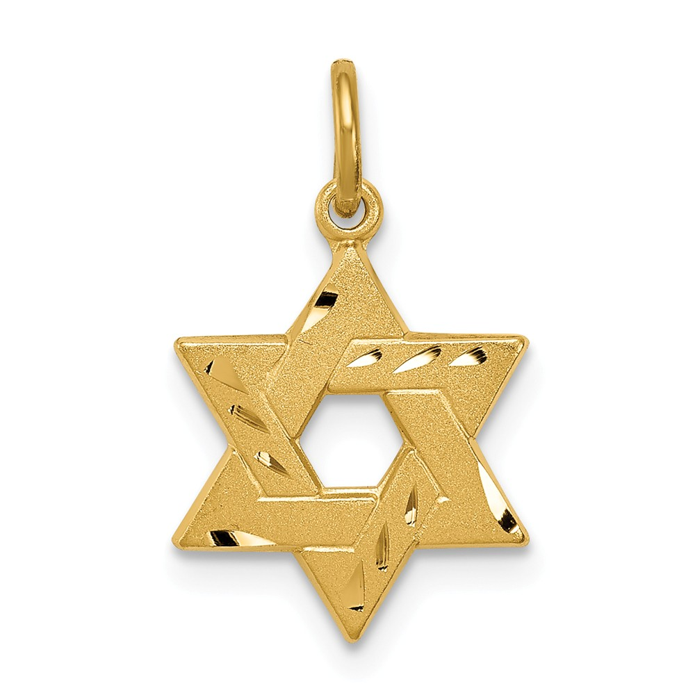 Sterling Silver Gold-tone Engraved Small Jewish Star Pendant