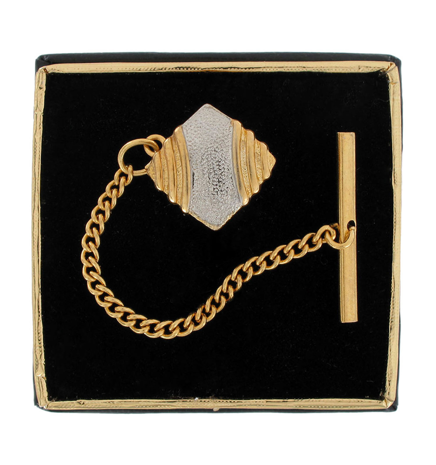 Gold & Silver Two Tone Textured Cushion Square Mens Tie Tac Tack Pin Gift Boxed