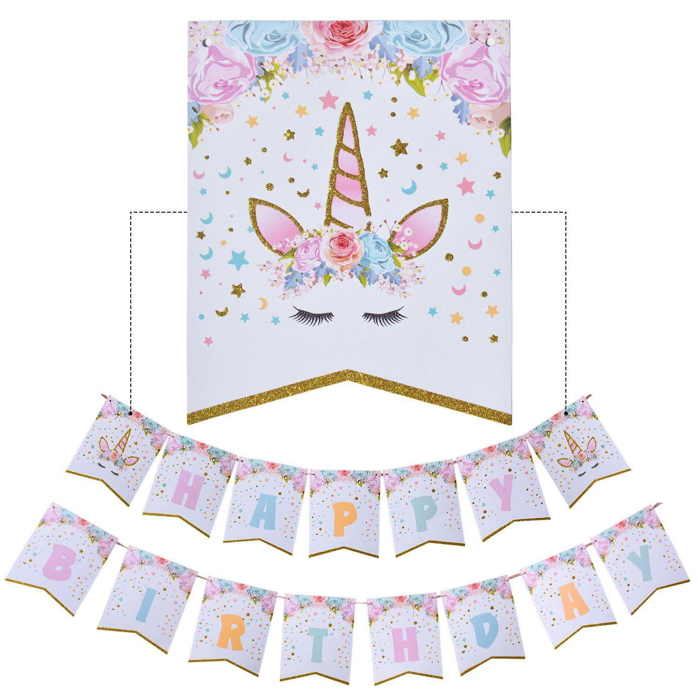 2P Unicorn Happy Birthday Banner Bunting Party Supplies Decorations Pastel Decor