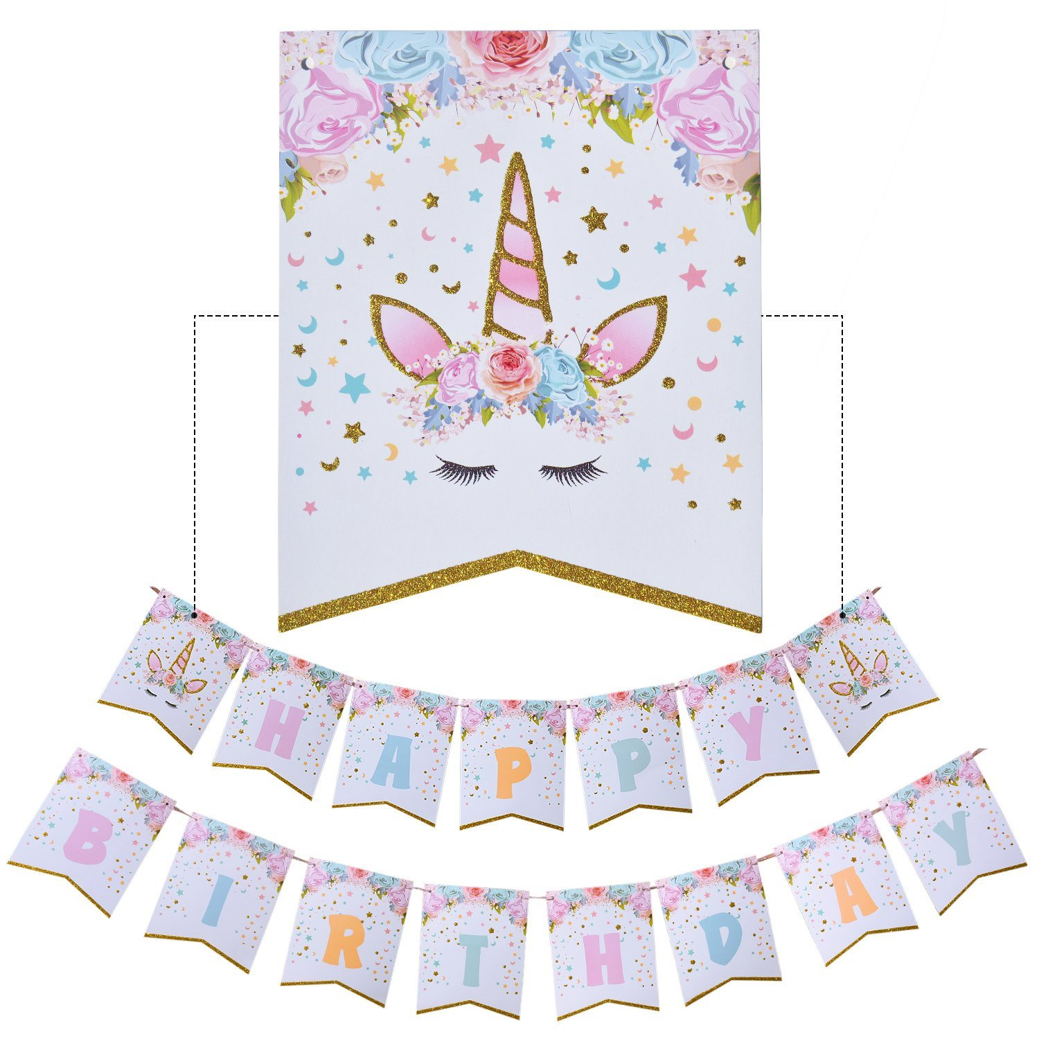 Happy Birthday Bunting Banner Rainbow Unicorn Themed Party Favors Decorations For Cute Fantasy Fairy Girls Birthday Party Supplies