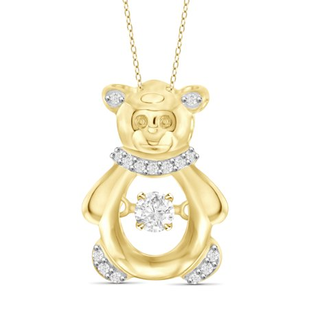 White Diamond Accent 14KT Gold Over Silver Teddy Bear Pendant