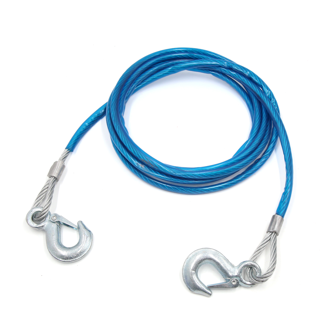 4M x 10mm 5 Tons Car Tow Strap Truck Steel Cable Towing Winch Snatch Rope Blue