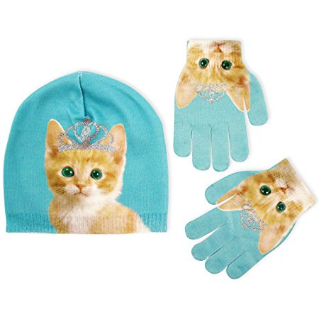 Pug or Kitty Design Beanie and Gloves Cold Weather Set, Little Girls, Age 4-7