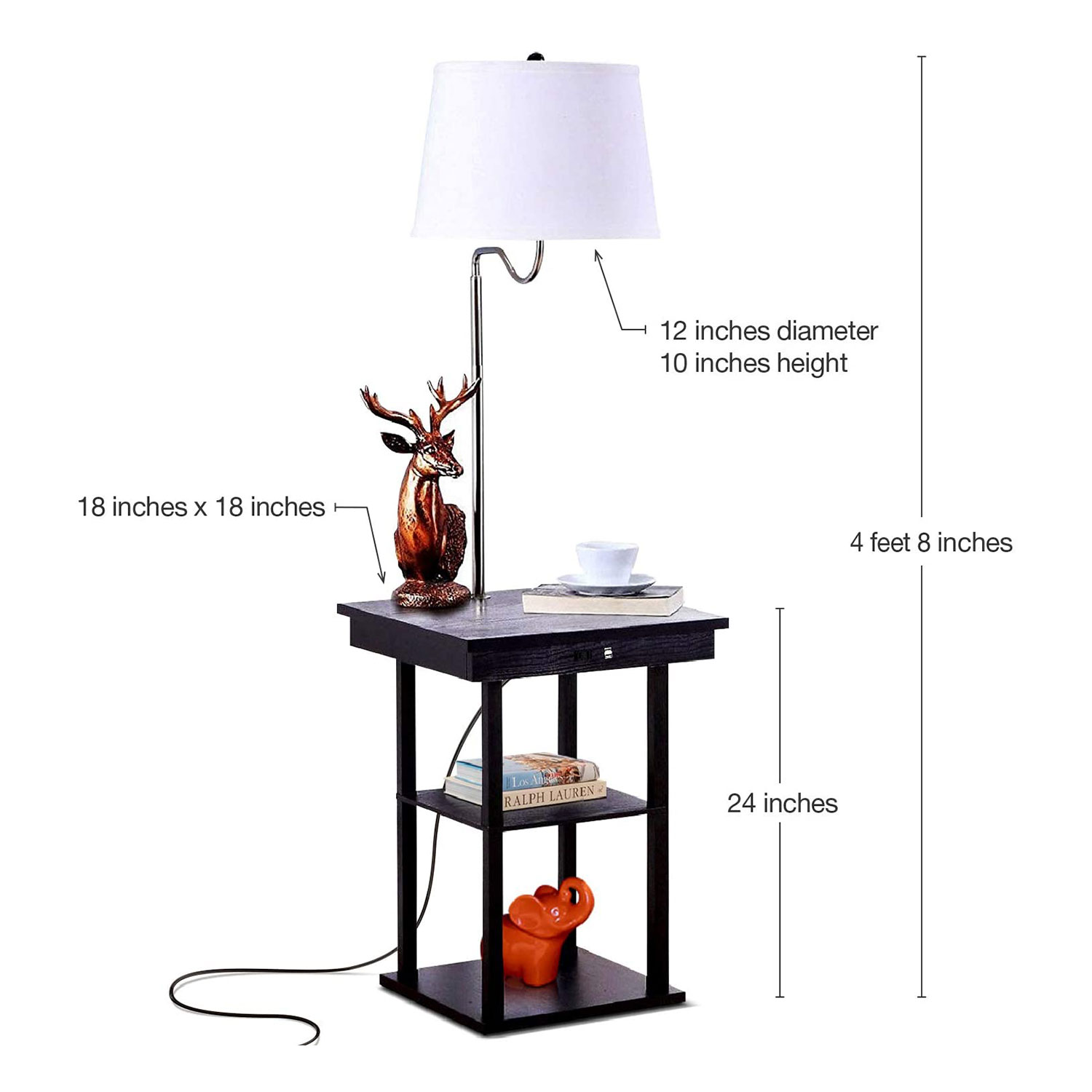Brightech Madison Mid Century Modern Bedside Table With Led Floor Lamp Attached Brown Walmart Com Walmart Com