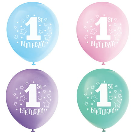 Latex Stars 1st Birthday Balloons, Assorted, 12 in, 8ct - First Birthday Balloon