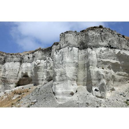 Minoan Eruption Deposits Mavromatis Pumice quarry Greece Canvas Art - Richard RoscoeStocktrek Images (18 x 12)