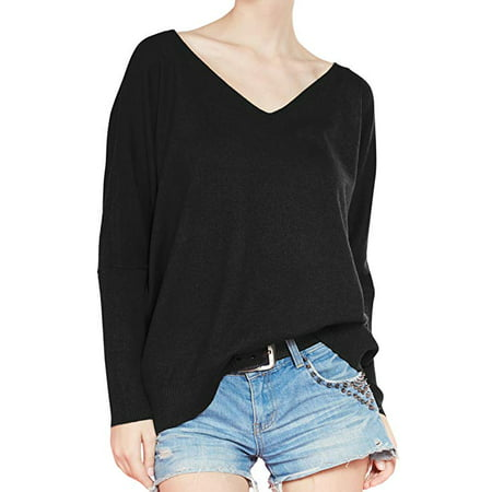 - Women's Fashion Big V-Neck Pullover Loose Sexy Batwing Sleeve Wool Cashmere Sweater Winter Tops