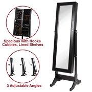 Clevr Black Mirrored Jewelry Cabinet Armoire Mirror Organizer Storage Box Stand