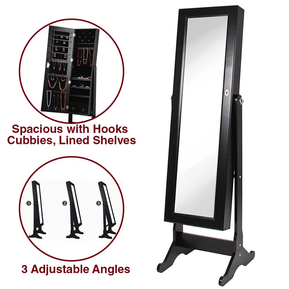 NEW Clevr Black Jewelry Cabinet Armoire Mirror Organizer Storage Box Stand