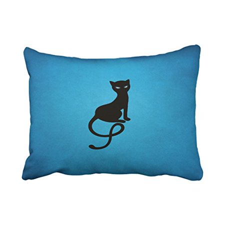 WinHome Halloween Blue Gracious Evil Black Cat Throw Pillow Covers Cushion Cover Case 20X30 Inches Pillowcases Two Side